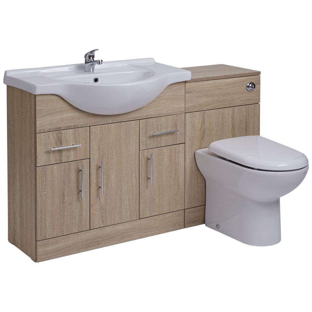 Mueble de Lavabo de 3 Puertas y 2 Cajones Efecto Roble con Inodoro Integrado 85x78x48cm