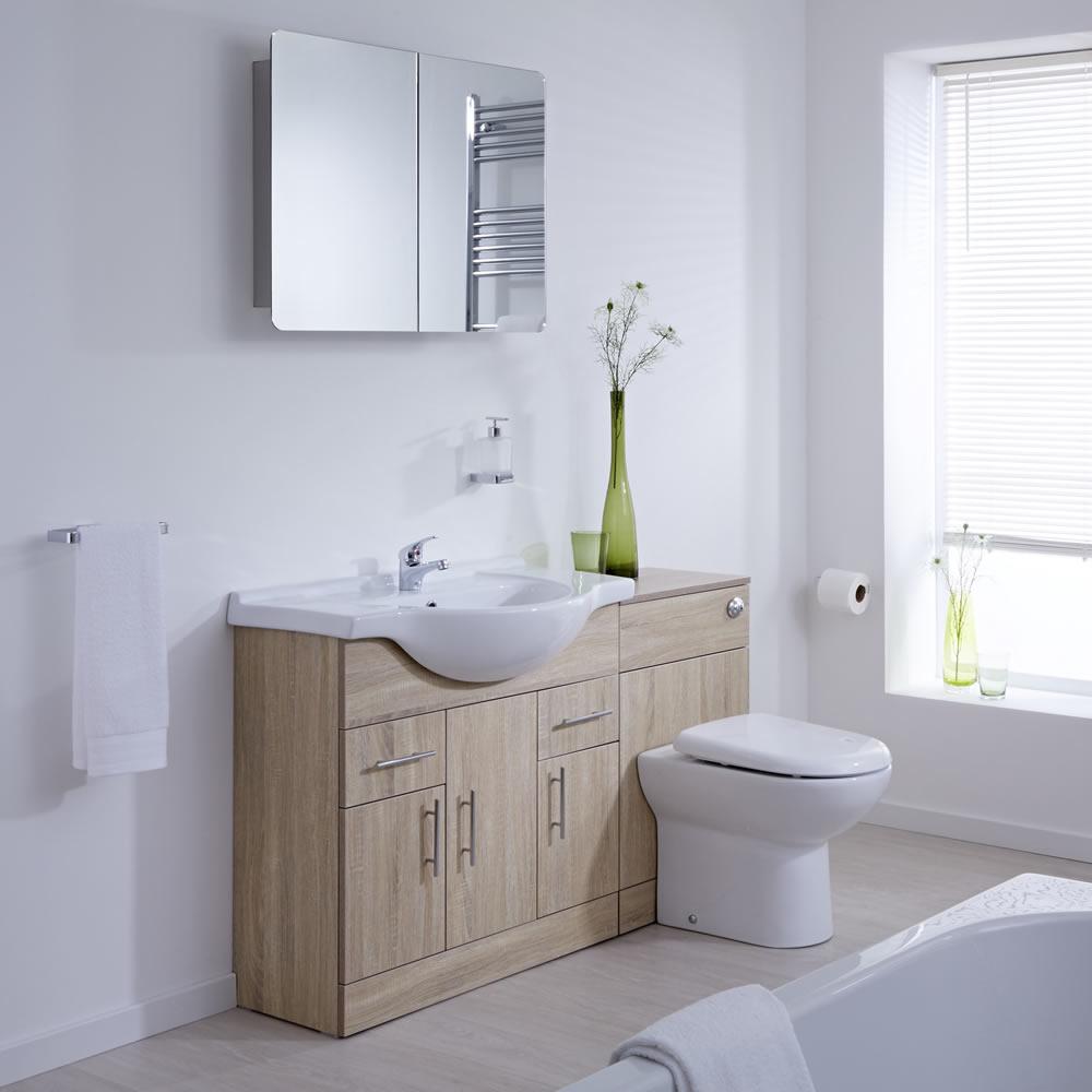 Mueble de Baño con Mueble de MDF Efecto Roble de 3 Puertas y 2 Cajones con Lavabo Integrado e Inodoro Integrado 85x78x48cm
