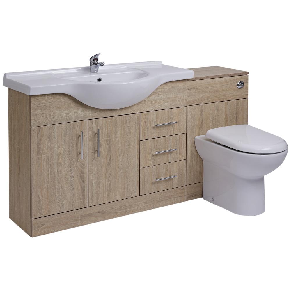 Mueble de Lavabo de 3 Puertas y 2 Cajones Efecto Roble con Inodoro Integrado 106x78x48cm