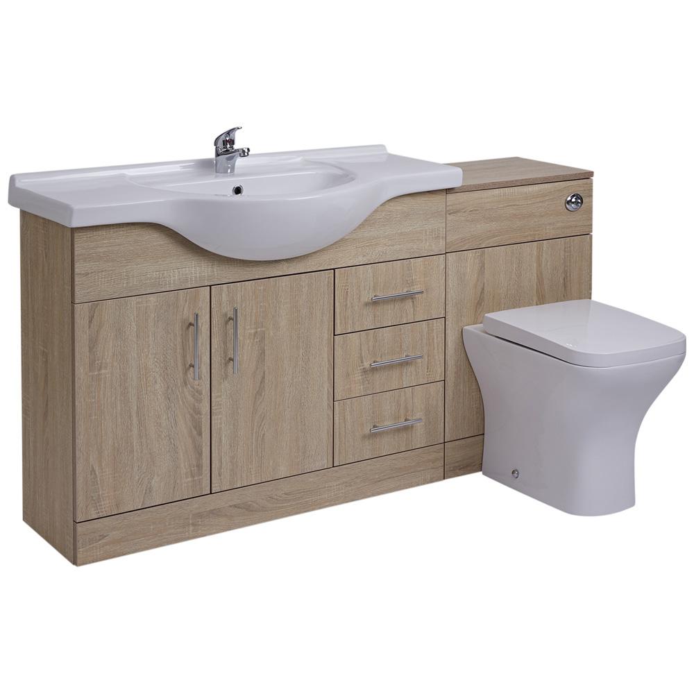 Mueble de Lavabo de 2 Puertas y 3 Cajones Efecto Roble con Inodoro Integrado 106x78x48cm