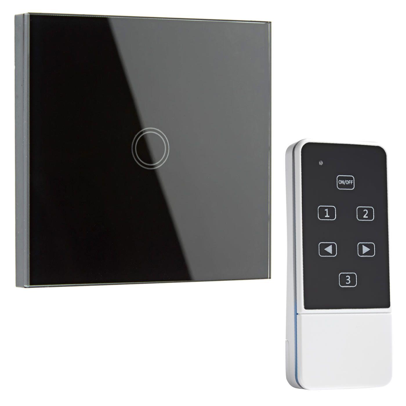 Interruptor de Diseño de Pared Negro con Mando de Control