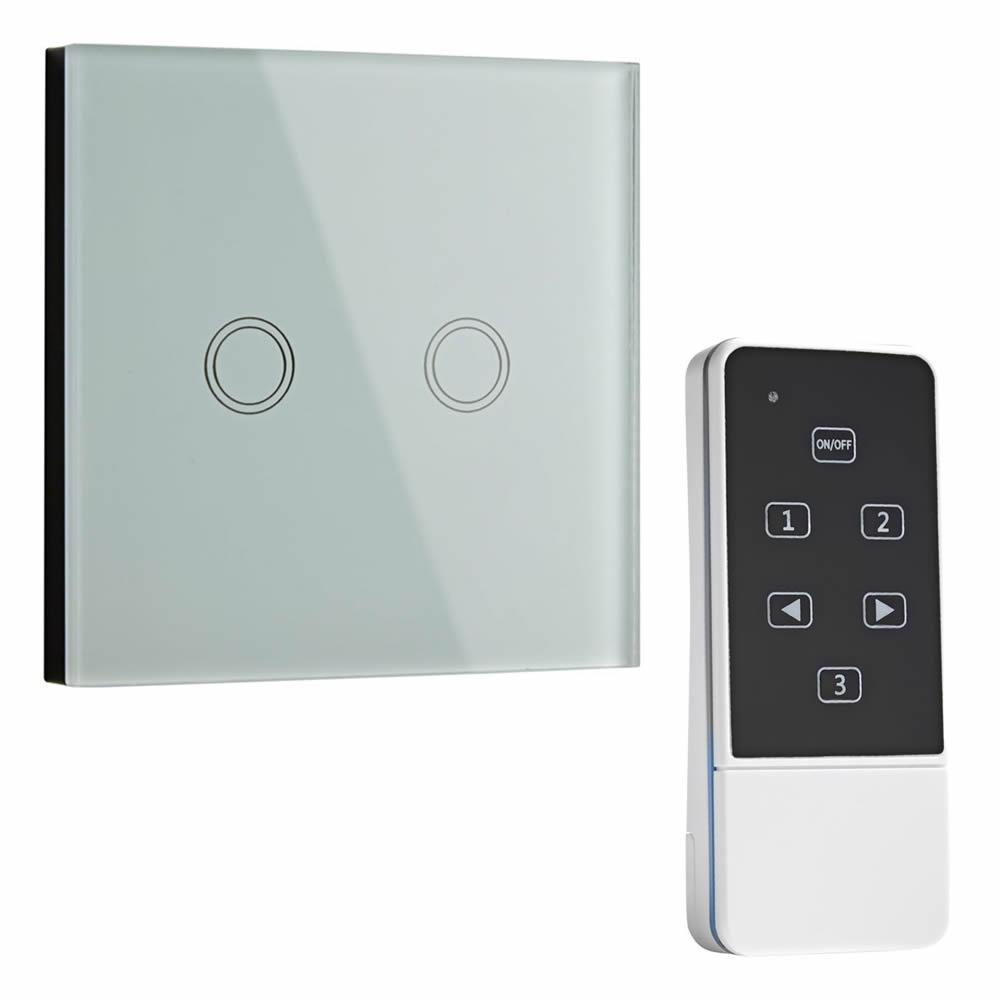 Interruptor de Diseño de Pared Doble Blanco con Mando de Control