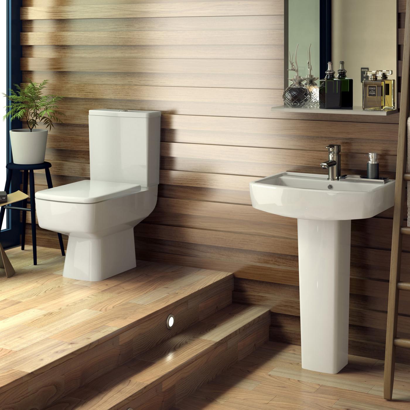 Conjunto de ba o con lavabo e inodoro wc en cer mica for Lavabo minimalista