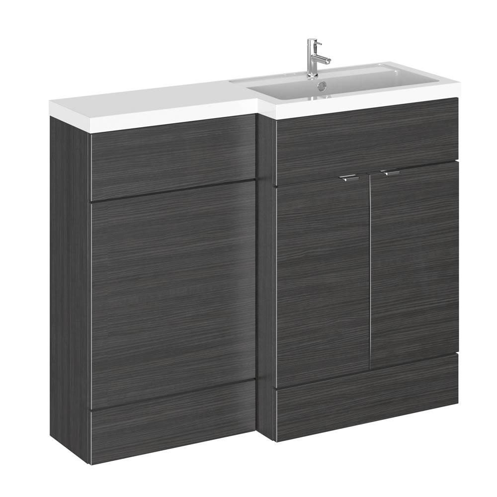 Mueble de Lavabo y WC Negro de 1100mm Versión Derecha