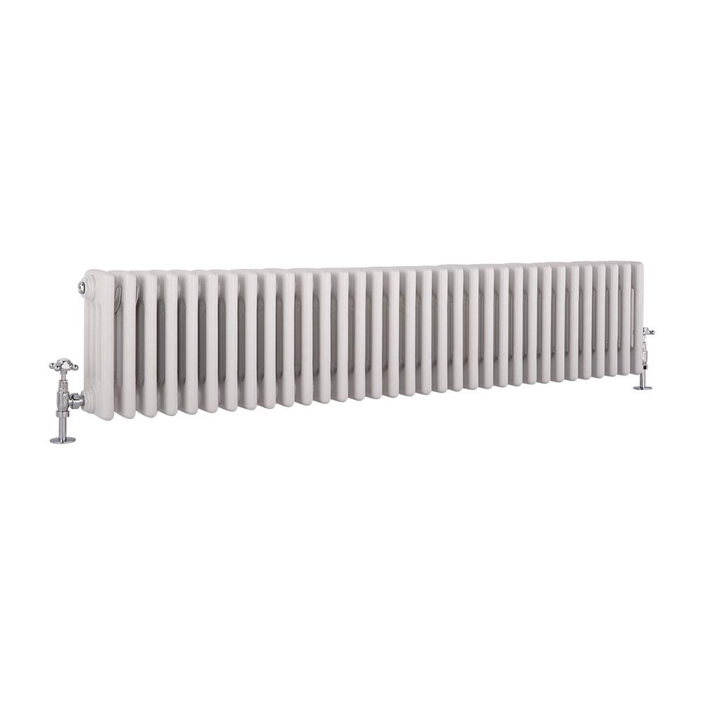 Radiador de Diseño Horizontal Cuádruple Tradicional - Blanco - 300mm x 1485mm x 133mm - 1793 Vatios - Regent