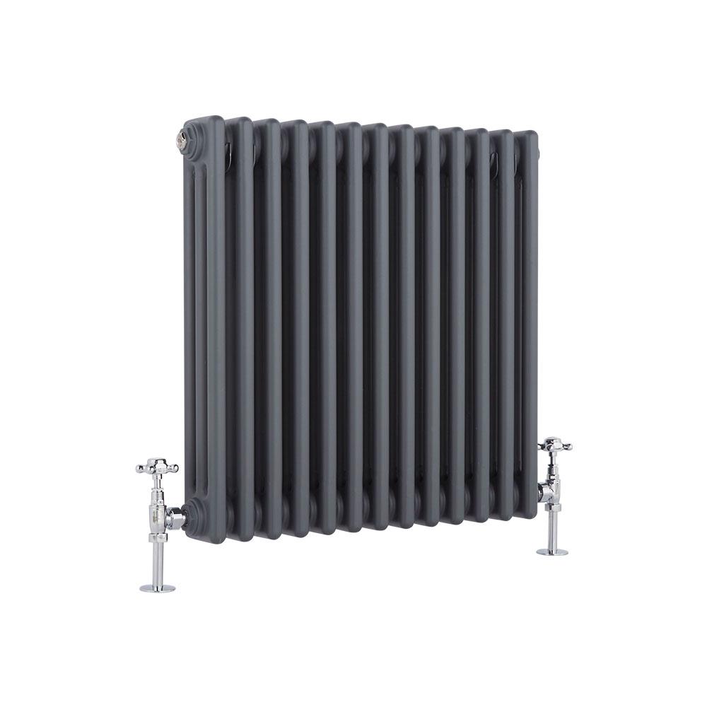 Radiador de Diseño Horizontal Triple Tradicional - Antracita - 600mm x 585mm x 100mm - 1060 Vatios - Regent