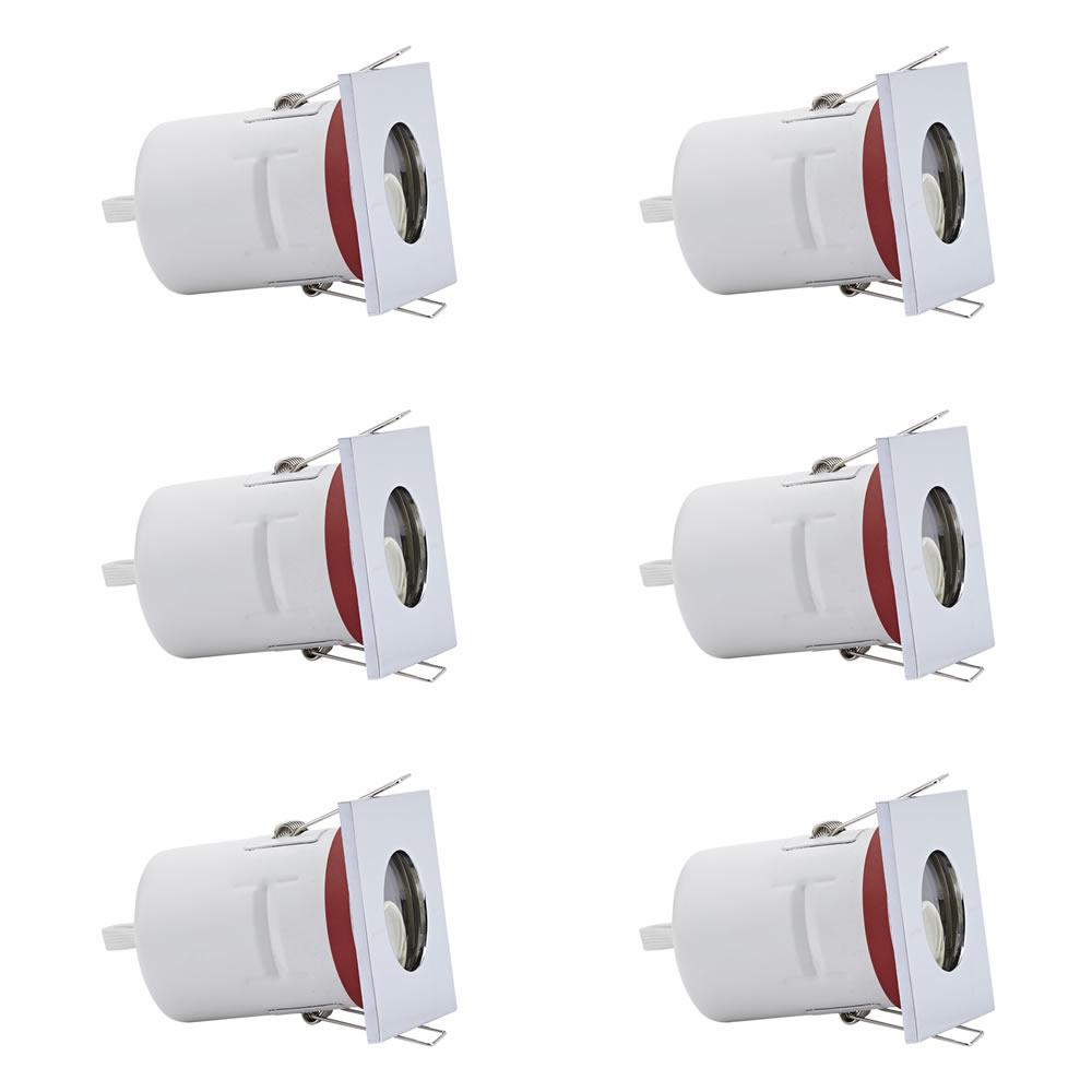 Conjunto con 6 foco downlight empotrable redondos GU10 de Techo IP20