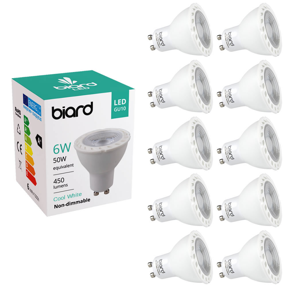 Biard 10x focos Spot LED GU10 de Techo de Repuesto 6W Equivalente a 50W