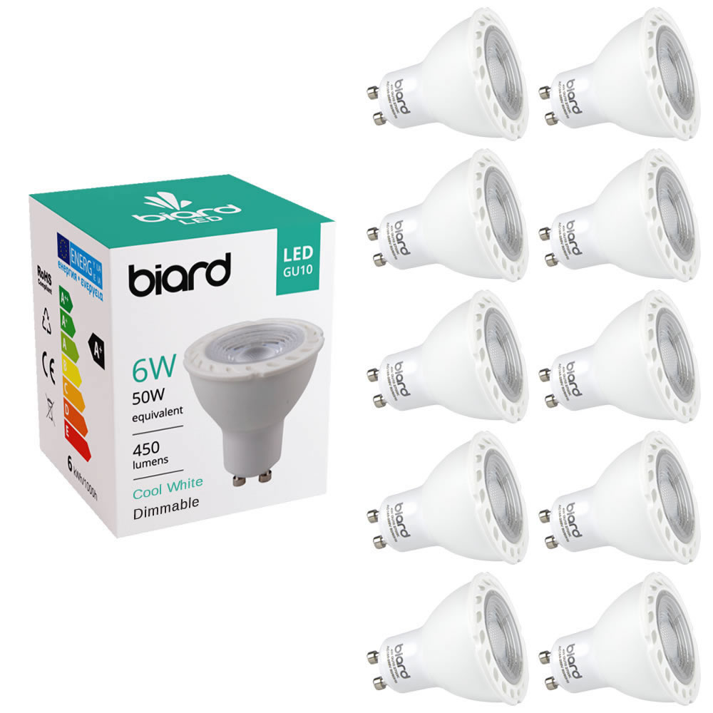 Biard 10x Focos Spot LED GU10 de Techo 6W con Intensidad Luminosa Regulable