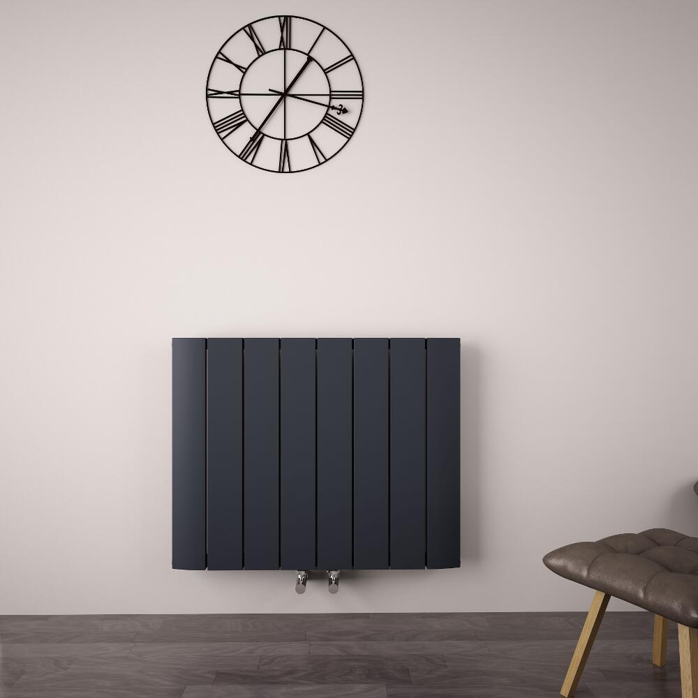 Radiador de Diseño Horizontal Con Conexión Central - Aluminio - Antracita - 600mm x 755mm x 45mm - 1024 Vatios - Aurora