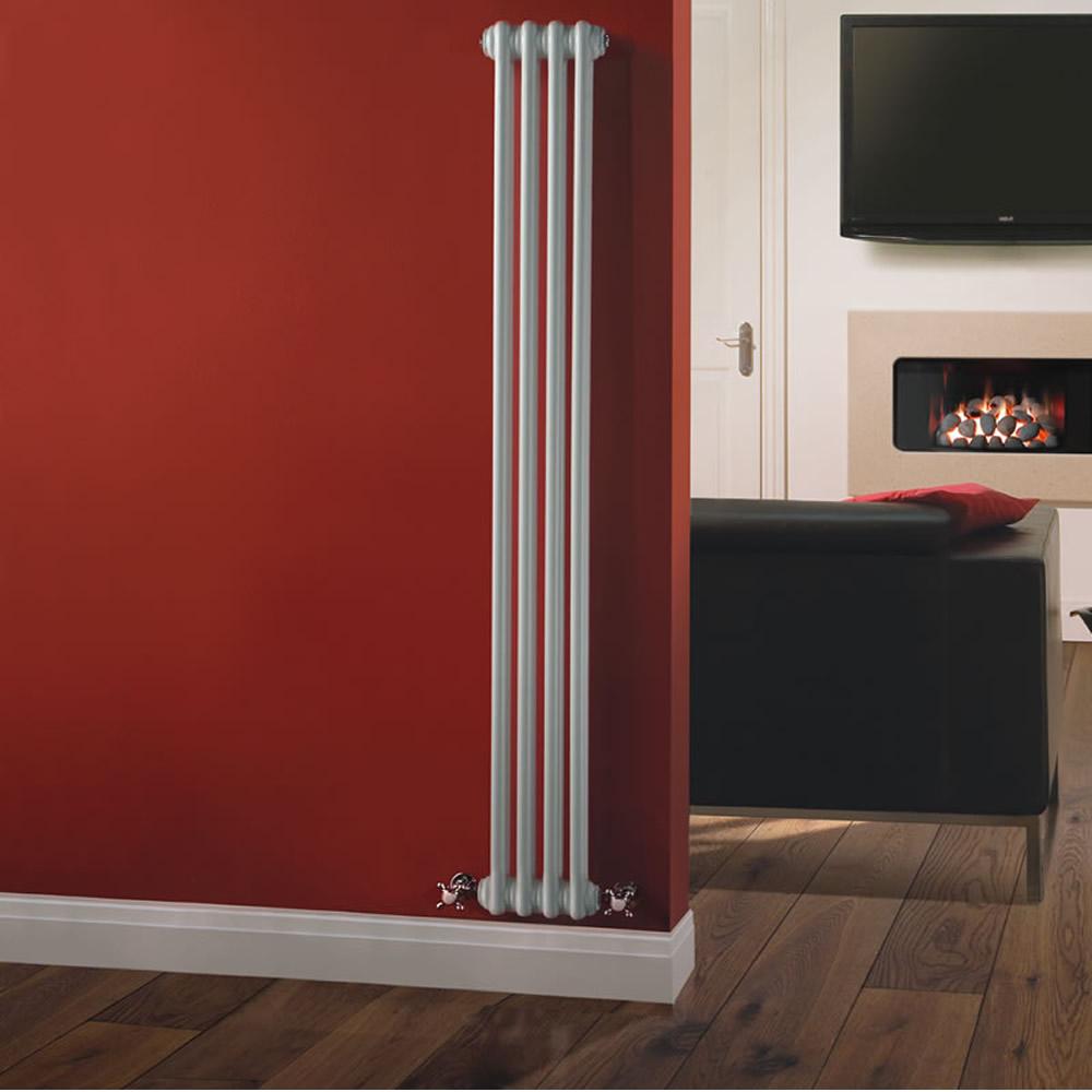 Radiador de Diseño Vertical Doble Tradicional - Blanco - 1500mm x 203mm x 68mm - 548 Vatios - Regent