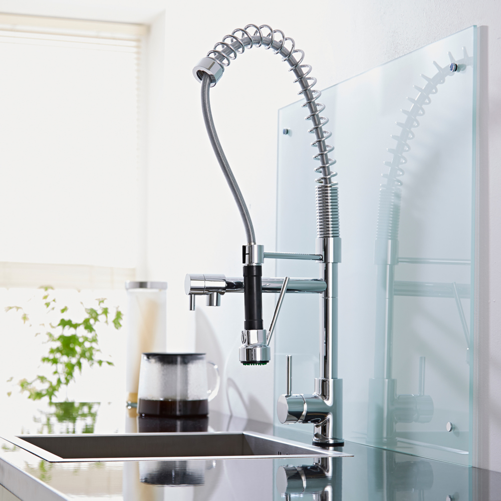 Grifo mezclador de fregadero para cocina con ducha for Grifo cocina pared