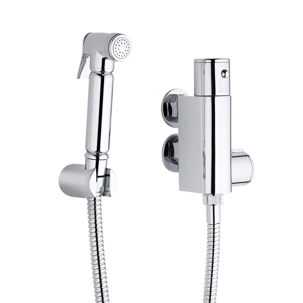 Kit con ducha higi nica para wc con llave mezcladora for Wc sin instalacion