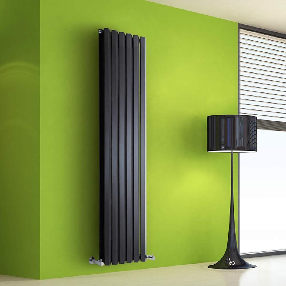 Radiador de Diseño Vertical Doble - Negro - 1600mm x 420mm x 86mm - 1475 Vatios - Rombo
