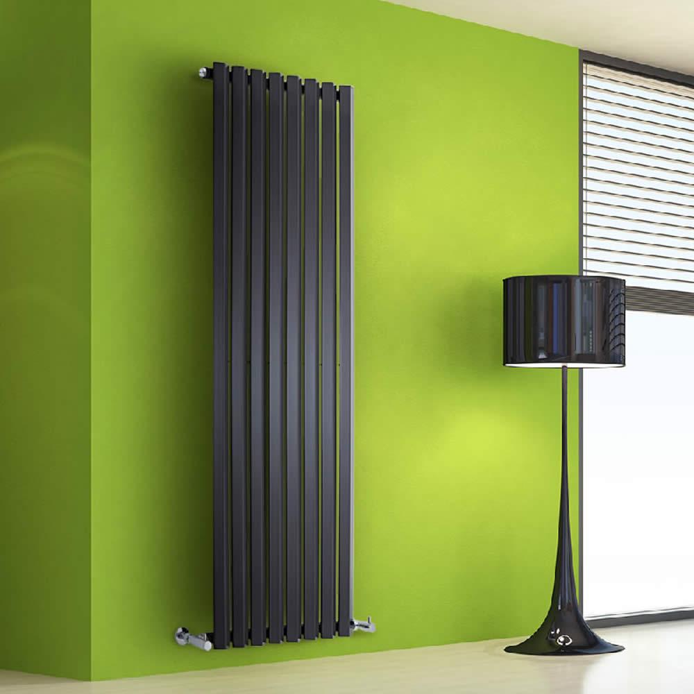 Radiador de Diseño Vertical - Negro Lúcido - 1600mm x 560mm x 60mm - 1261 Vatios - Rombo