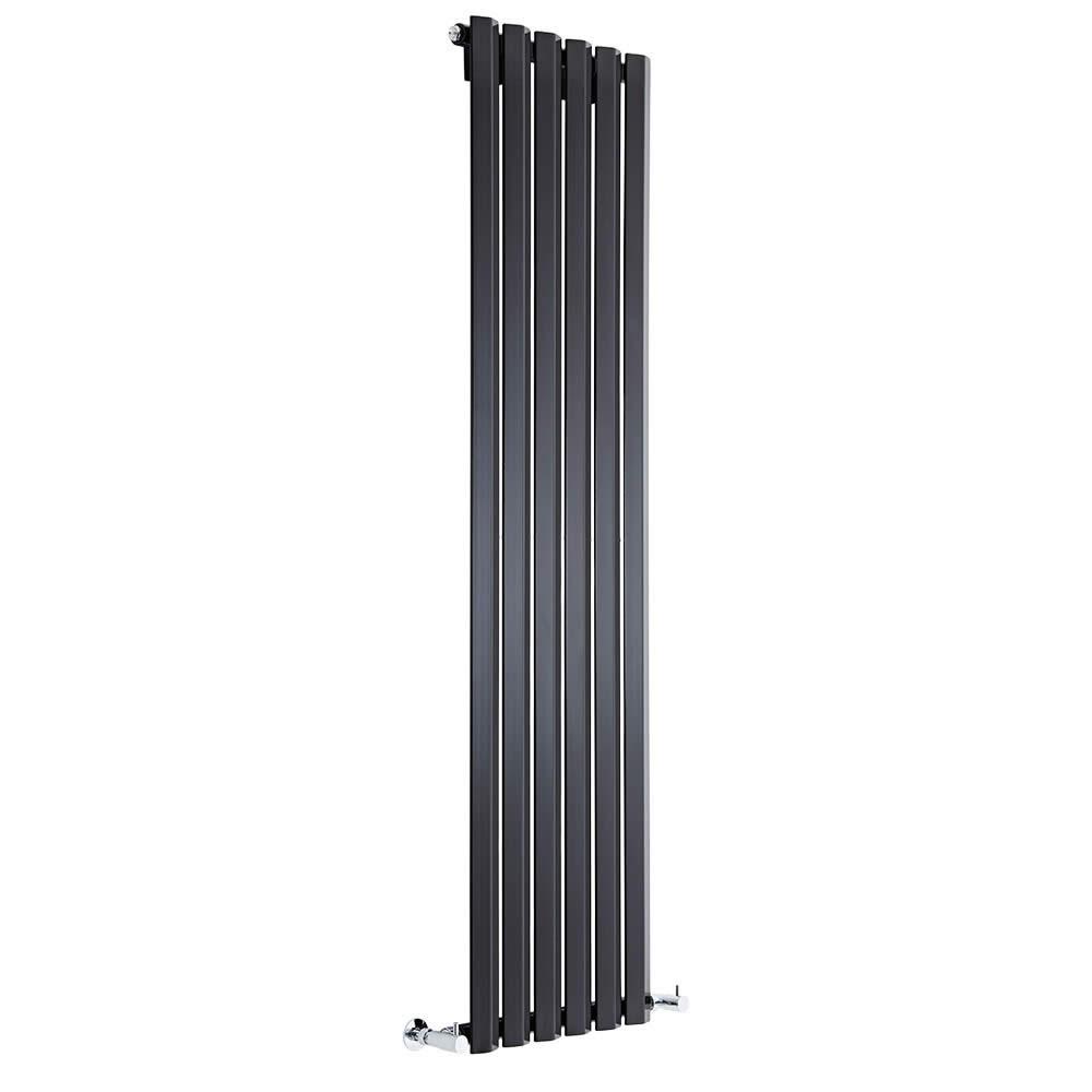 Radiador de Diseño Vertical - Negro Lúcido - 1600mm x 420mm x 60mm - 946 Vatios - Rombo