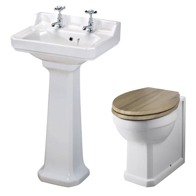 Conjunto de Baño Completo con Inodoro WC en Cerámica con Opción de Distintas Tapas de WC y Lavabo Retro - Old London