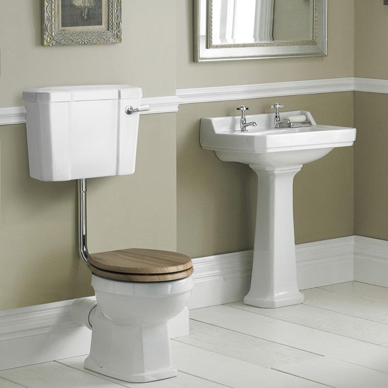 Conjunto de Baño Completo con Inodoro WC con Opción de Distintas Tapas de WC, Cisterna Semi Suspendida y Lavabo de 590mm - Retro