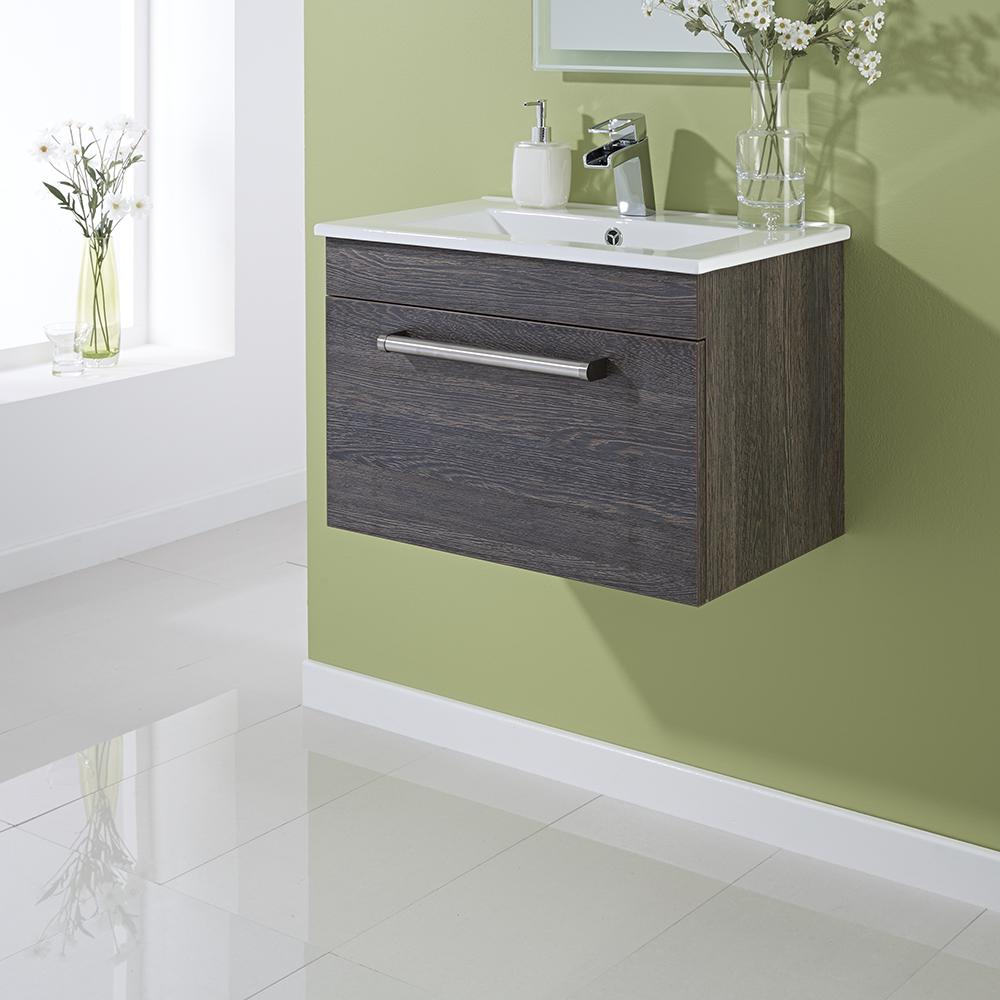 Mueble de Lavabo Suspendido en Marrón Negro de 605mm x 409mm con Un Cajón