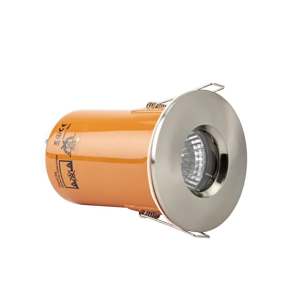 Foco Downlight LED GU10 de Techo con Marco en Color Plateado Satinado