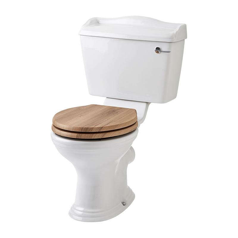 Inodoro wc tradicional completo con cisterna de salida for Tapa inodoro madera