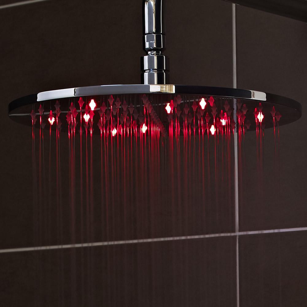 Alcachofa de Ducha LED Redonda Acero Inoxidable 200mm con Economizador de Agua - Eco