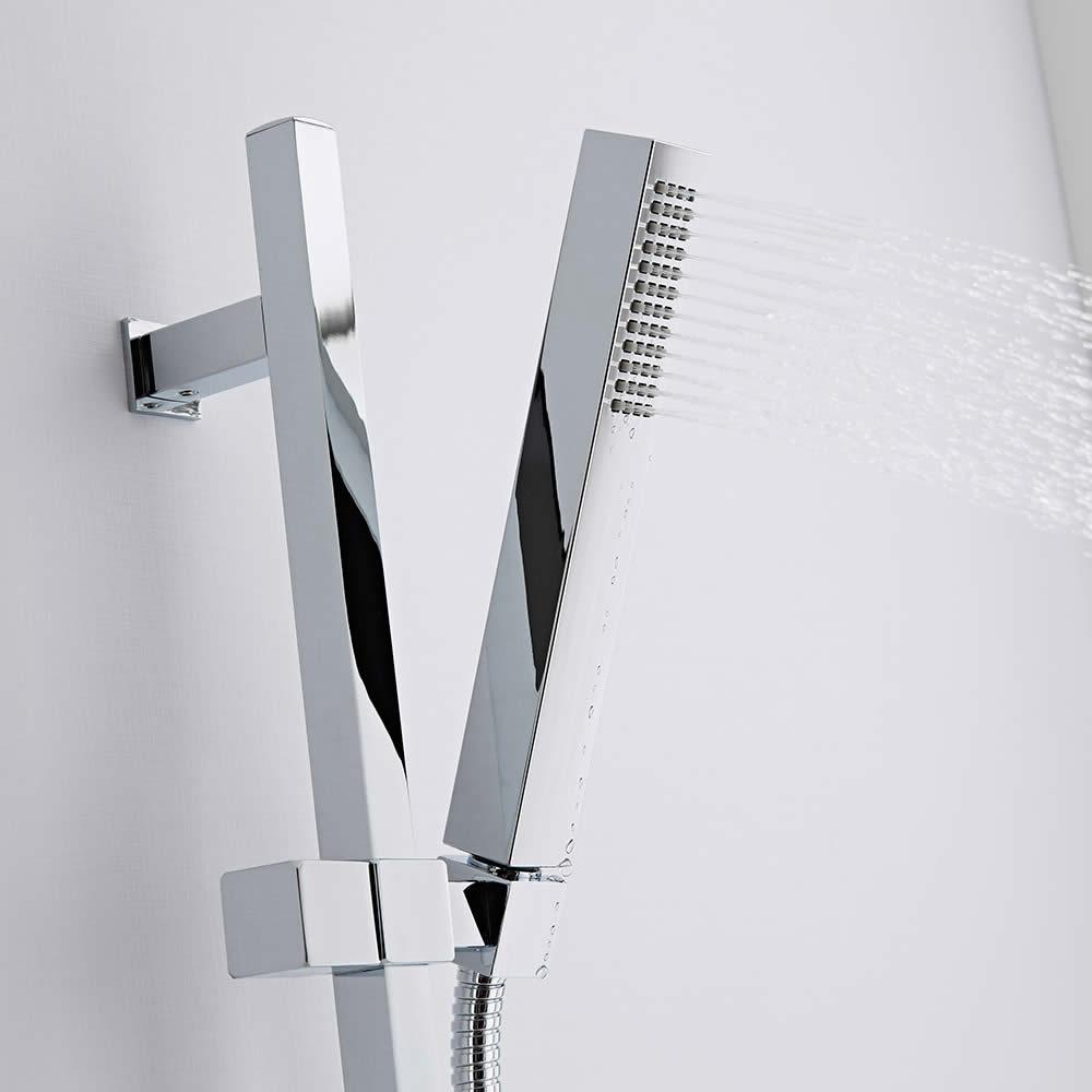 Kit de Ducha Completo con Barra Deslizante, Ducha de Mano con Economizador de Agua, Codo y Flexible - Eco