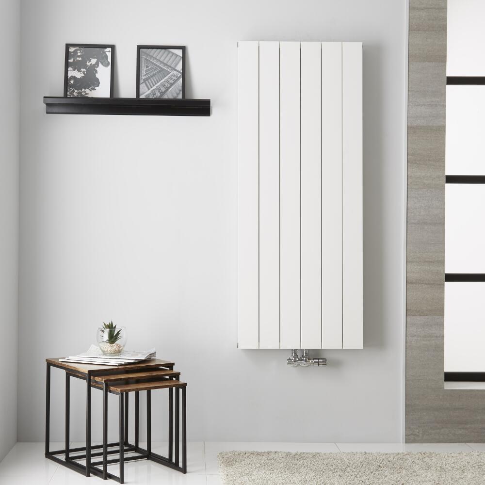 Radiador de Diseño Vertical Doble con conexión Central - Aluminio - Blanco - 1400mm x 565mm x 67mm - 1559 Vatios  - Kett