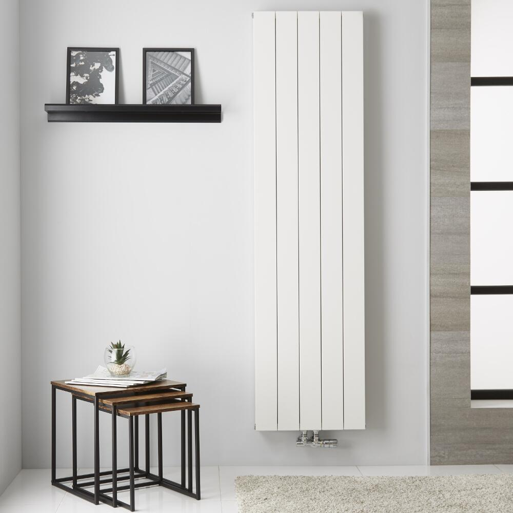 Radiador de Diseño Vertical Doble con conexión Central - Aluminio - Blanco - 1800mm x 470mm x 67mm - 1704 Vatios  - Kett