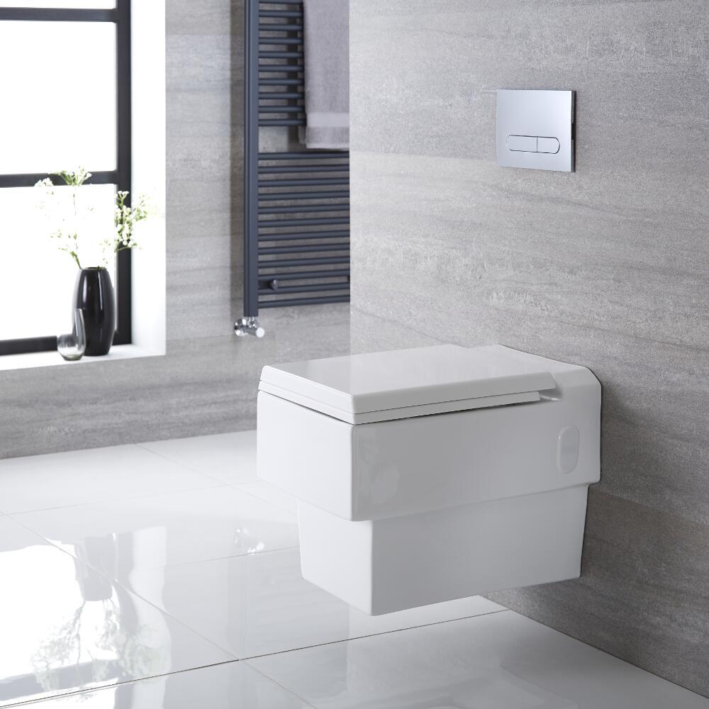 Inodoro WC Cuadrado Moderno Suspendido 410x355x540mm con Tapa de WC Soft Close - Haldon