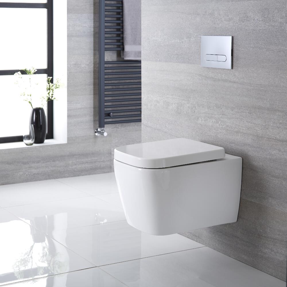 Inodoro WC Cuadrado Moderno Suspendido 535x390x445mm con Tapa - Longton