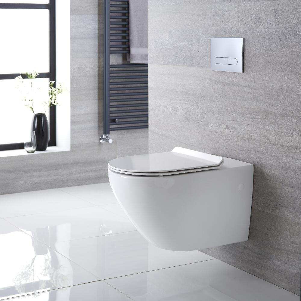 Inodoro WC Oval Suspendido 340x360x585mm con Tapa - Otterton
