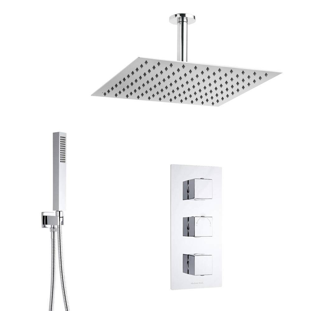 Conjunto de ducha Termostática, Alcachofa, Ducha de Mano, Brazo, Soporte y Codo