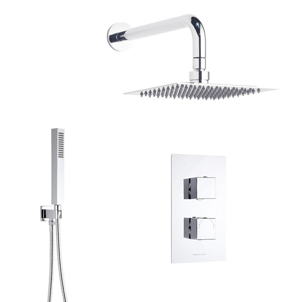 Conjunto de ducha con llave termost tica alcachofa y for Llave mezcladora de ducha
