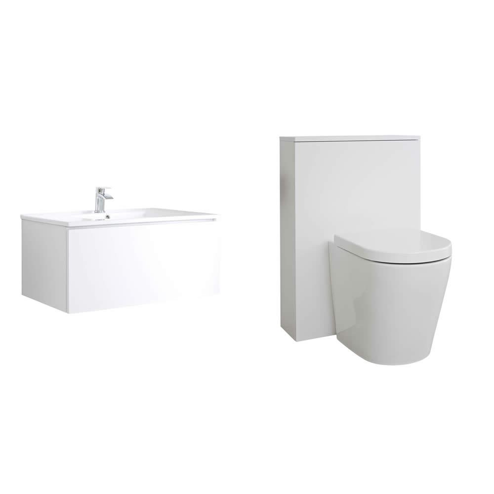 Mueble de Baño de 800mm Color Blanco Opaco con Inodoro y Lavabo - Newington