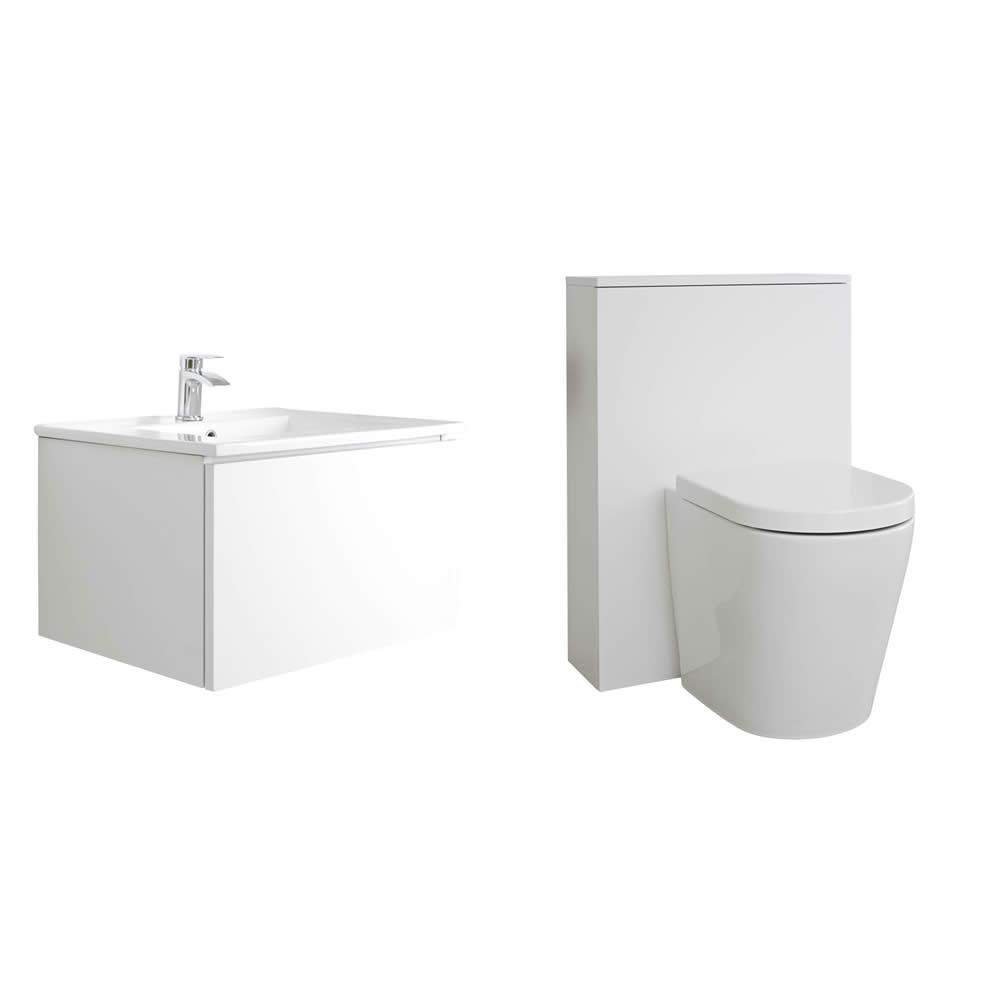 Mueble de Baño de 600mm Color Blanco Opaco Completo con Cisterna, Inodoro y Lavabo - Newington