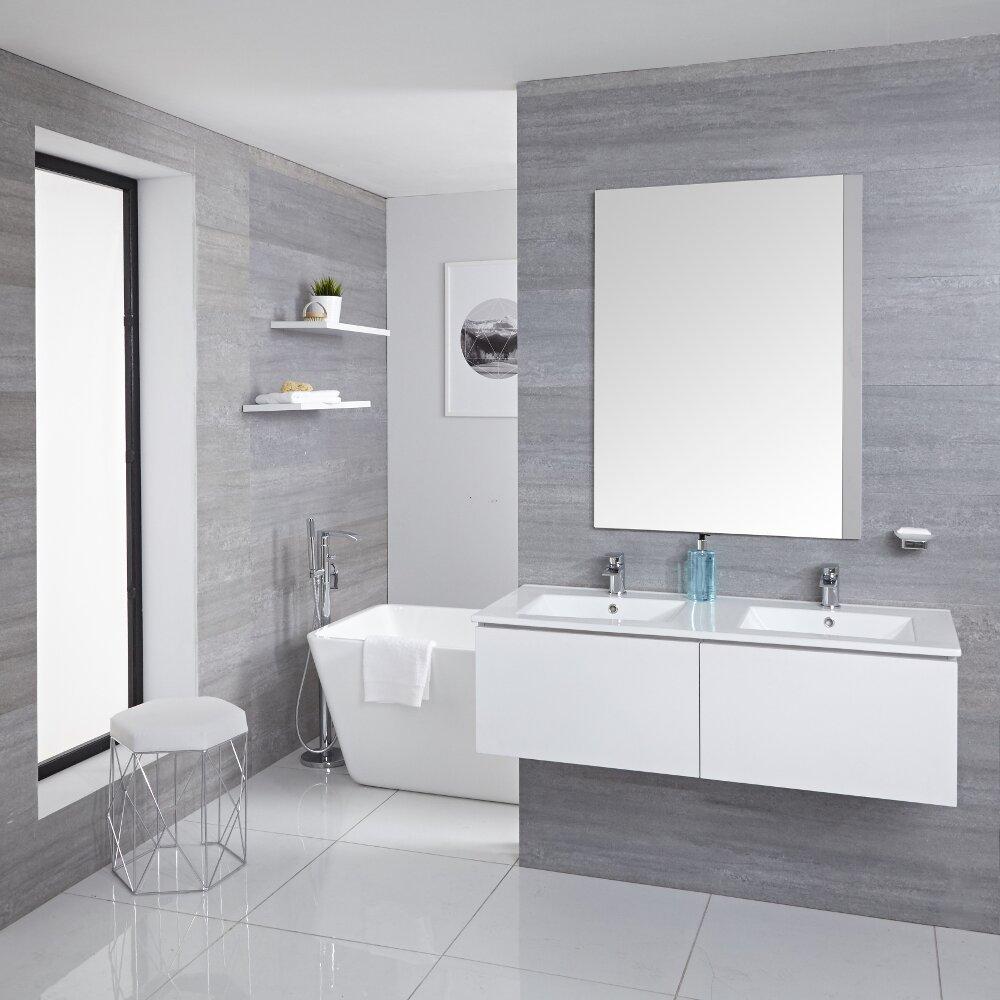 Mueble de Lavabo Mural Moderno de 1200mm Color Blanco Opaco con Lavabo Doble Integrado para Baño Disponible con Opción LED - Newington