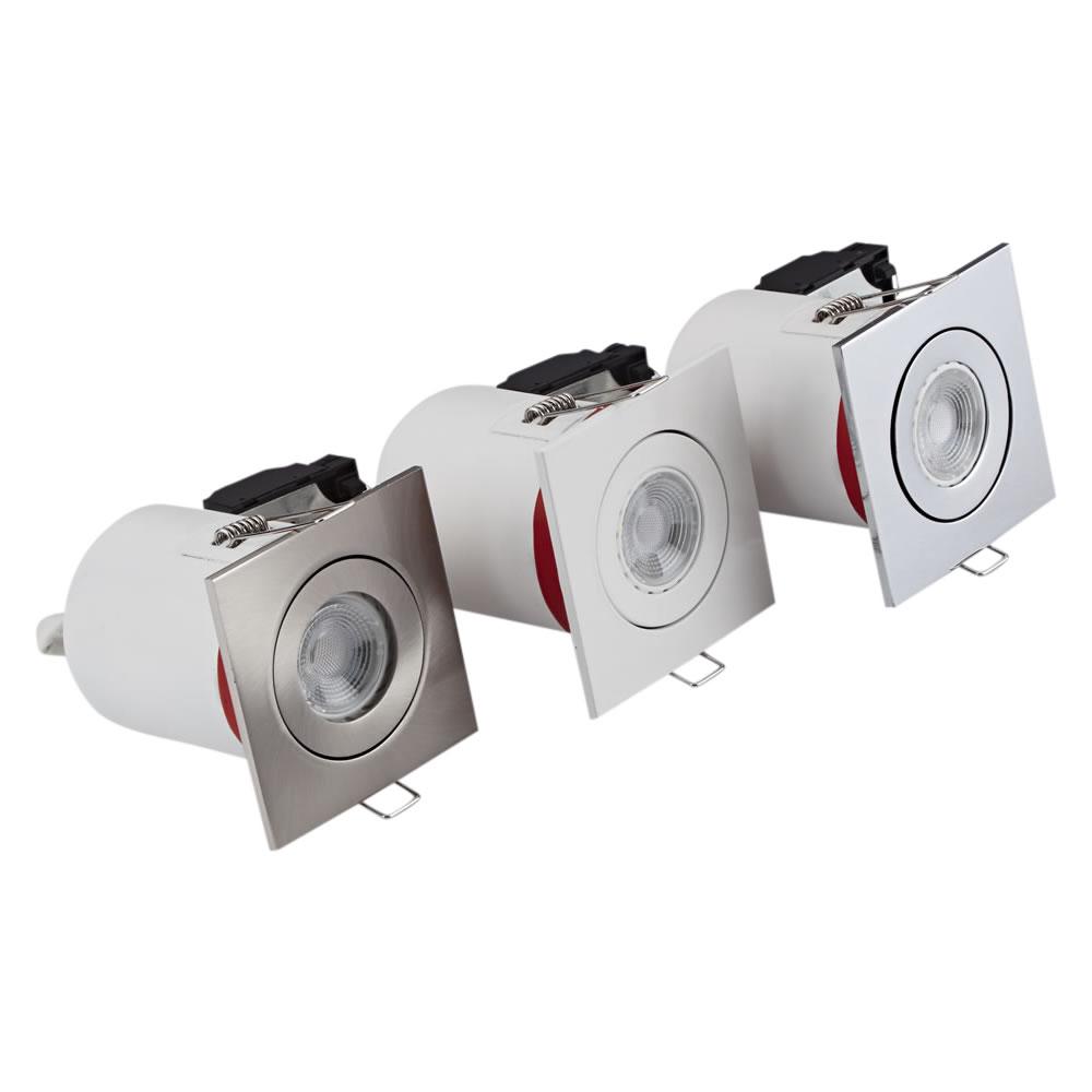 Biard Conjunto con 3 Focos Downlight Empotrables IP20 GU10 Inclinables de Techo Clasifícación Ignífuga con Biseles Cuadrados Disponibles en 3 Colores
