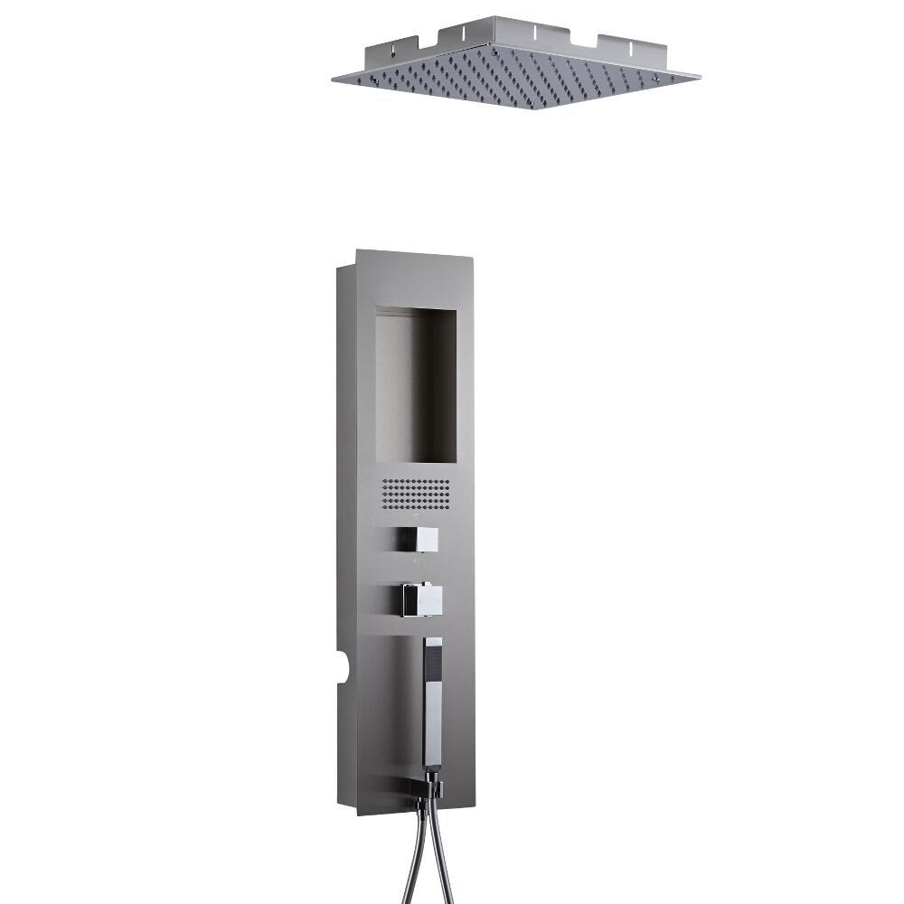 Panel de Ducha Empotrable Hidromasaje con Alcachofa de Ducha Cuadrada de Techo Empotrable de 400mm - Llis
