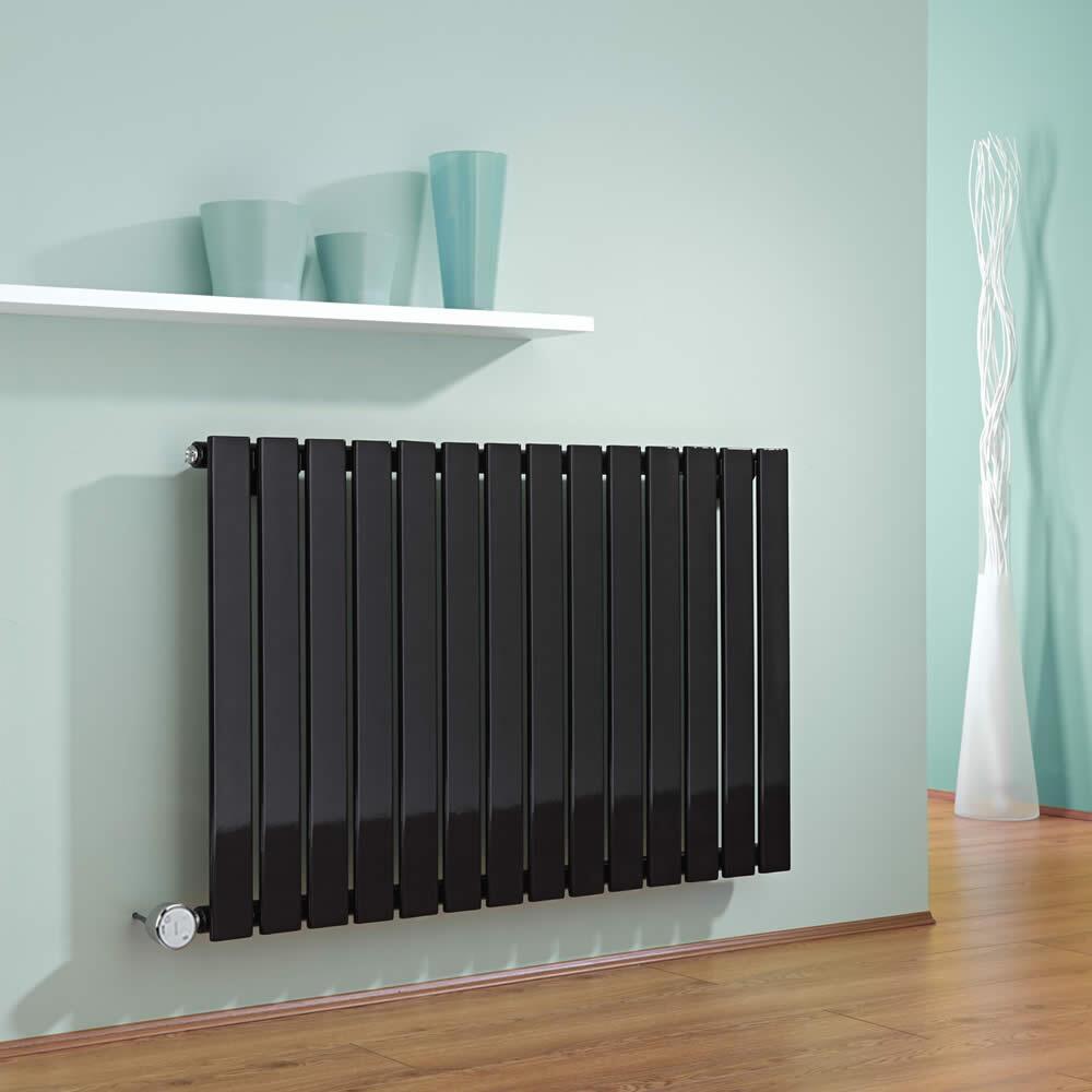 Radiador de Diseño Eléctrico Horizontal - Negro - 635mm x 980mm x 46mm -  Elemento Termostático de 600W  - Delta