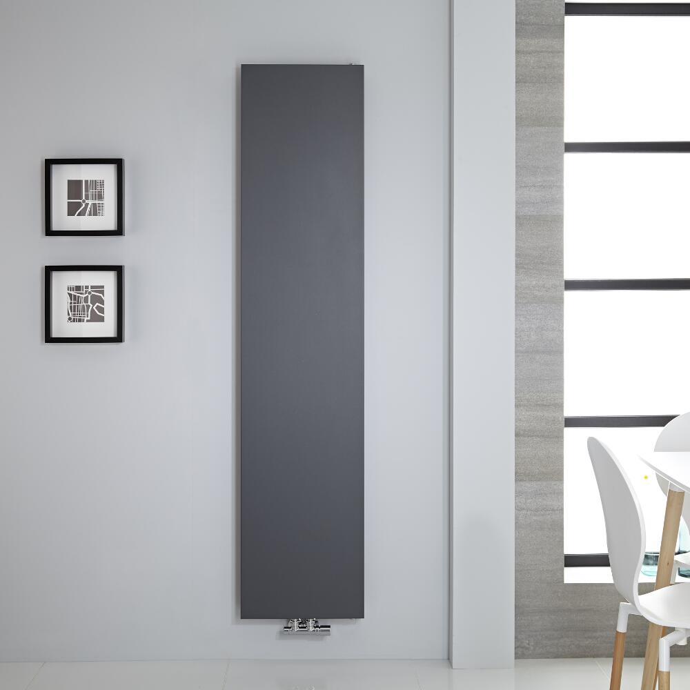 Radiador de Diseño Vertical - Panel Plano - Conexión Central - Antracita  - 1820mm x 400mm - 842 Vatios – Rubi