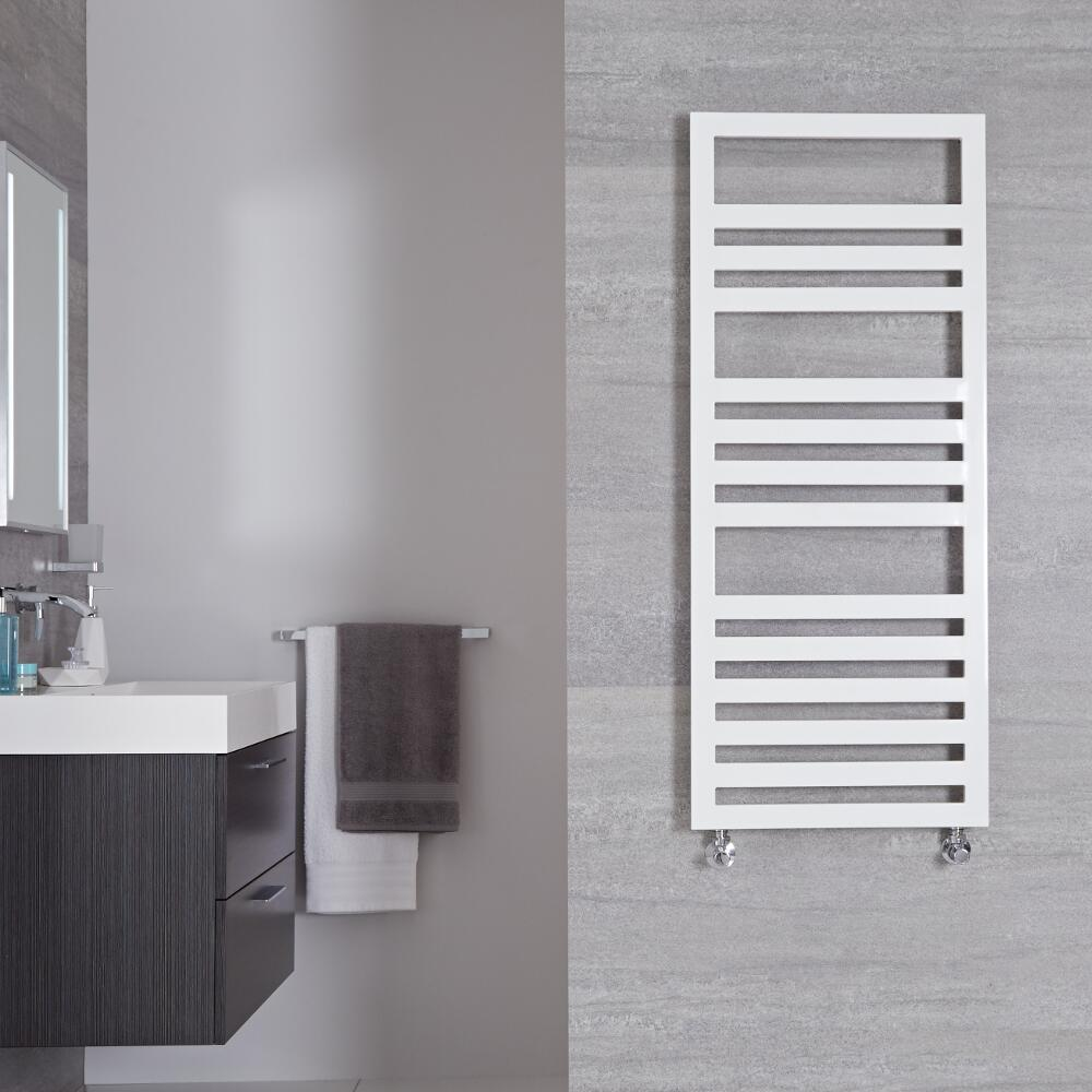 Radiador Toallero de Diseño Vertical - Blanco - 1200mm x 500mm - 618 Vatios - Ponza