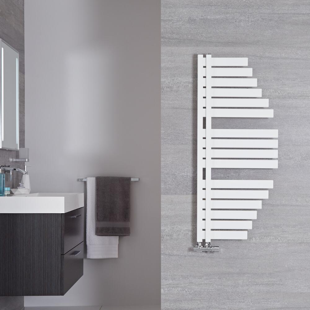 Radiador Toallero de Diseño Vertical - Color Blanco Mineral - 1100mm x 483mm - 563 Vatios - Lazio