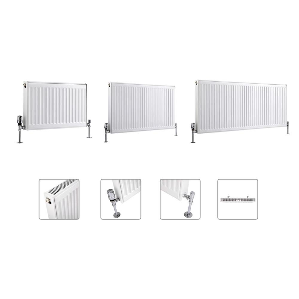 Radiador Convector Horizontal con Panel Doble Plus - Blanco - Disponible en Distintas Medidas - Eco