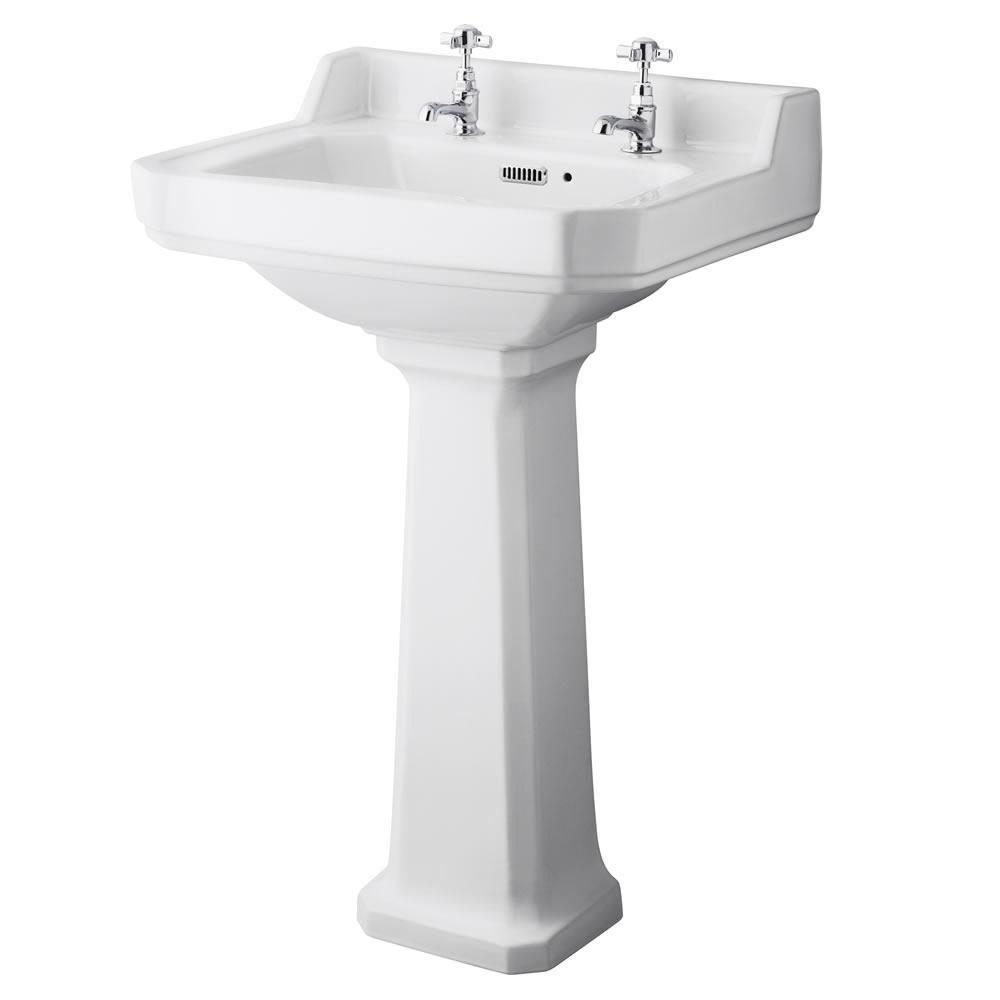 Conjunto Retro para  Cuarto de Baño Completo con Inodoro WC con Tapa y Lavabo de 2 Agujeros  - Old London