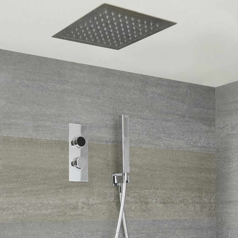 Ducha Digital con Sistema de Control de 2 Salidas con Alcachofa de Ducha Cuadrada  Empotrable de 280x280mm y Telefonillo de Ducha - Narus