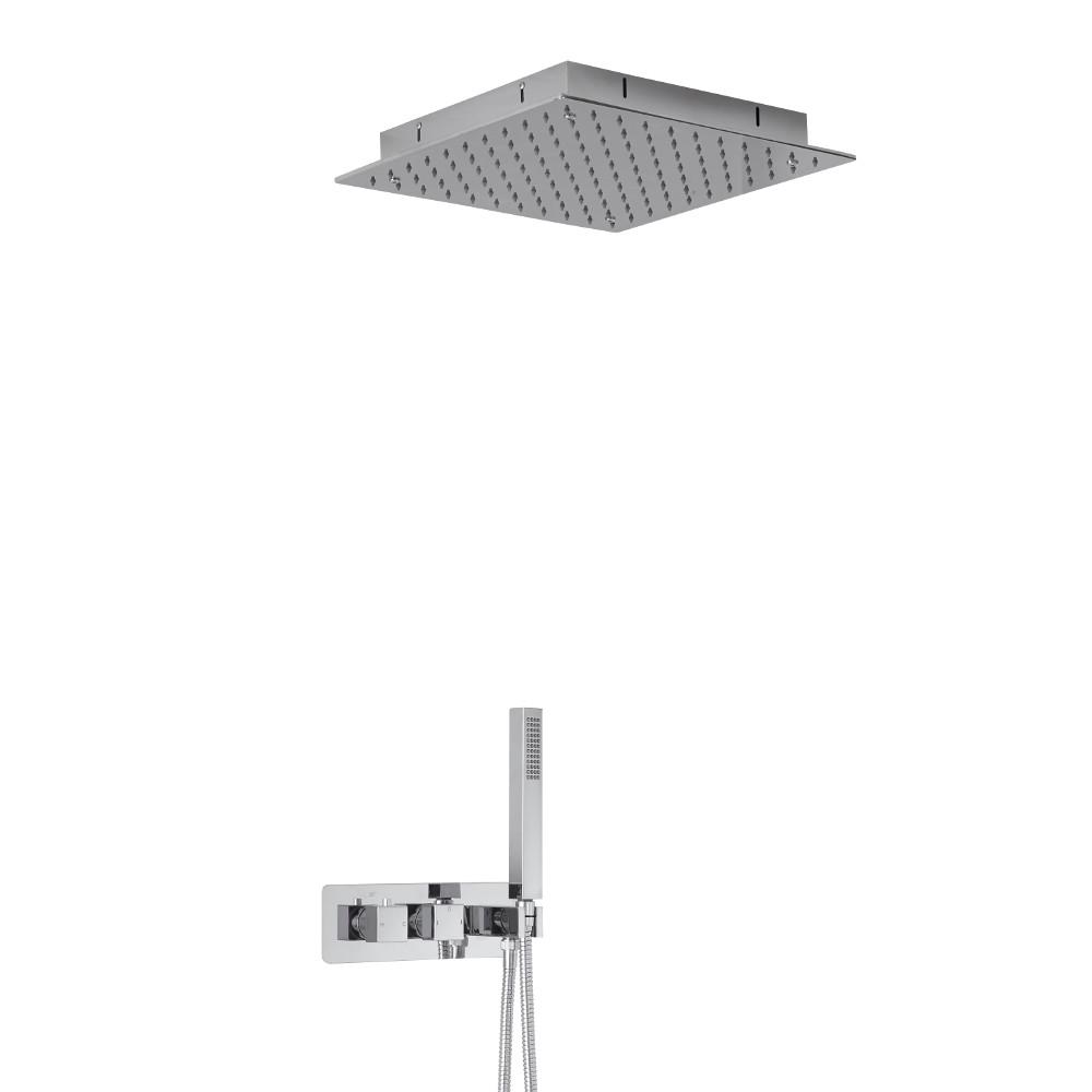 Mezclador de Ducha Empotrable Cuadrado de 2 Funciones con Alcachofa Empotrable de 400mm con Brazo de Techo y Telefonillo - Arvo