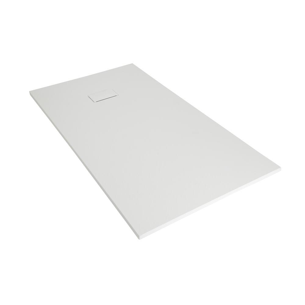 Plato de Ducha Rectangular Efecto Piedra de Color Blanco Opaco de 1500x800mm