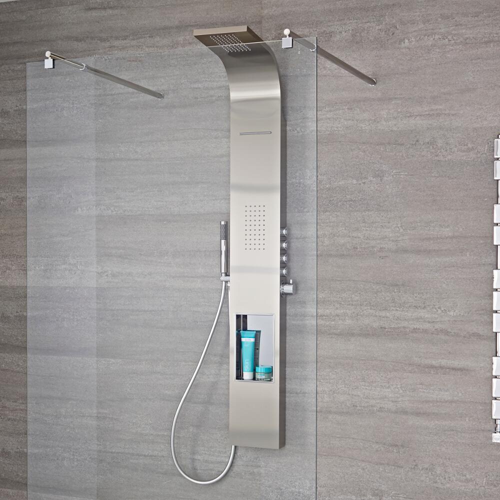 Panel de ducha termost tico de 4 funciones con erogador a for Ducha efecto lluvia