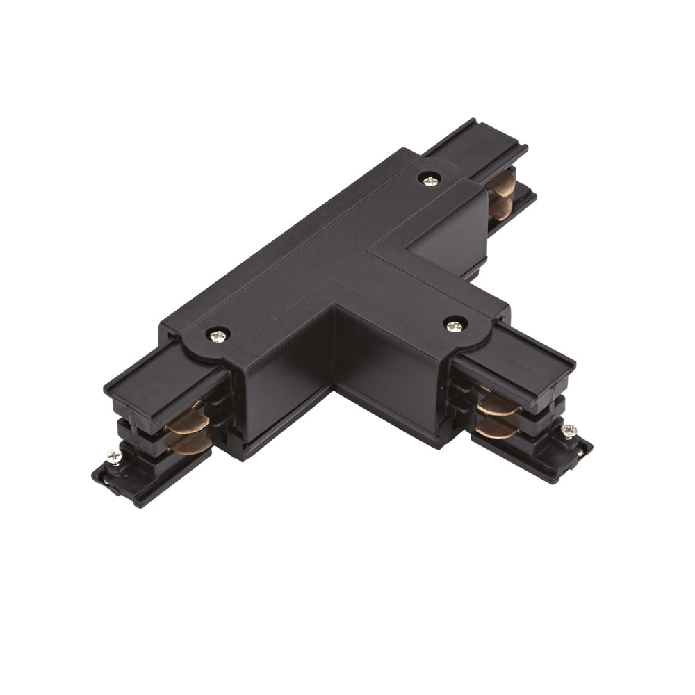 Conector tipo T para carril de 3 Circuitos - Negro